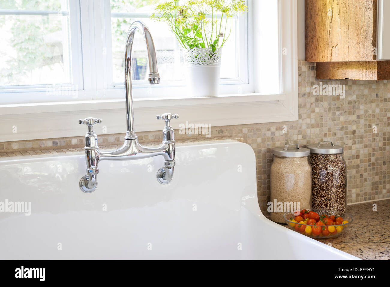 rustic kitchen sinks formica table white porcelain sink with curved faucet and tile backsplash under large window