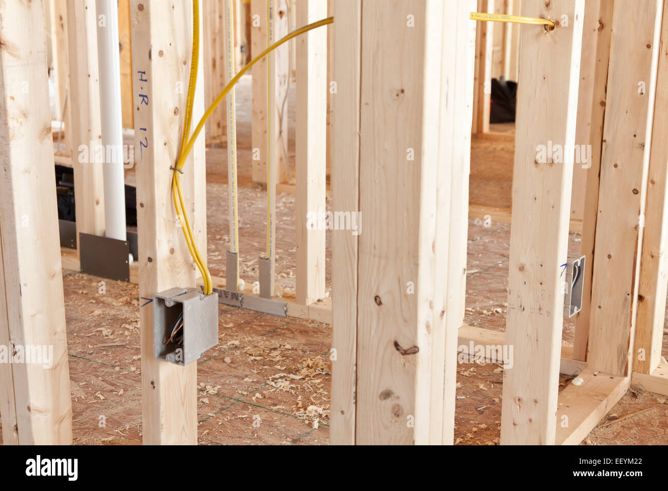 hight resolution of electrical wiring to a receptacle box in a new home under construction