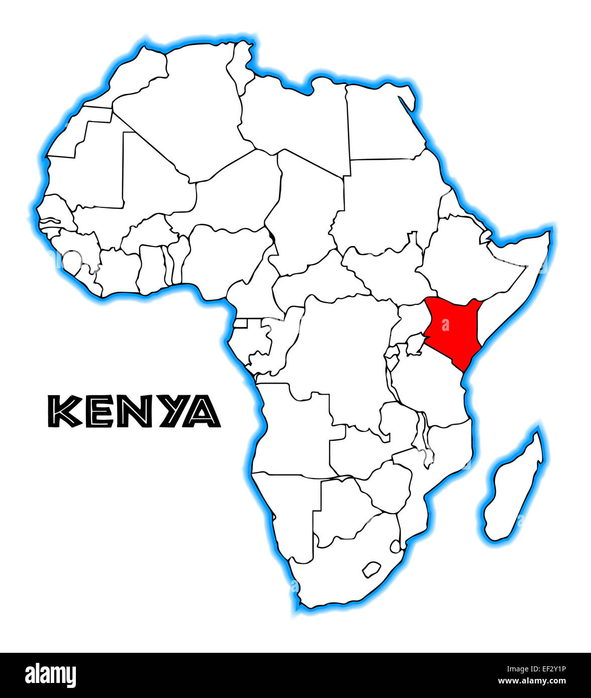 Kenya Outline Inset Into A Map Of Africa Over A White