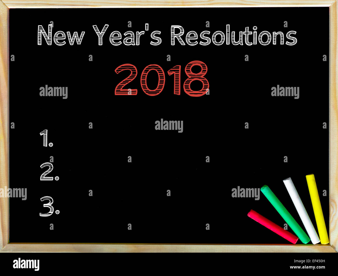 New Years Resolutions Vintage Chalk Text On Blackboard Colored Stock Photo