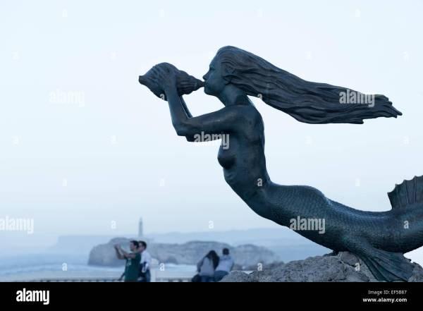 Figure Of Mermaid Three Carabelas Ships Peninsula De La Magdalena Stock Royalty Free