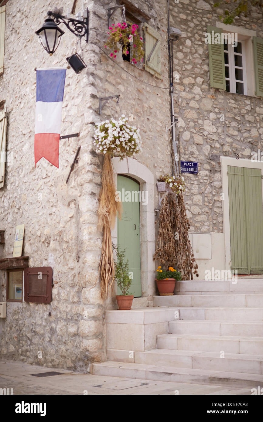 hight resolution of the lovely town of la colle sur loup in the south of france stock image