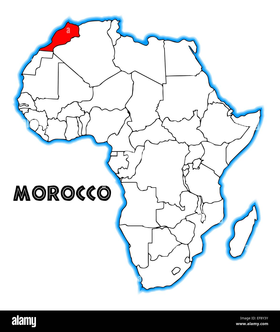 Morocco Outline Inset Into A Map Of Africa Over A White