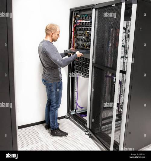 small resolution of it technician install network rack in datacenter