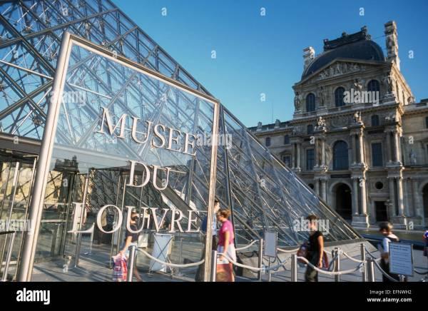 Entrance Louvre Museum Paris France Stock