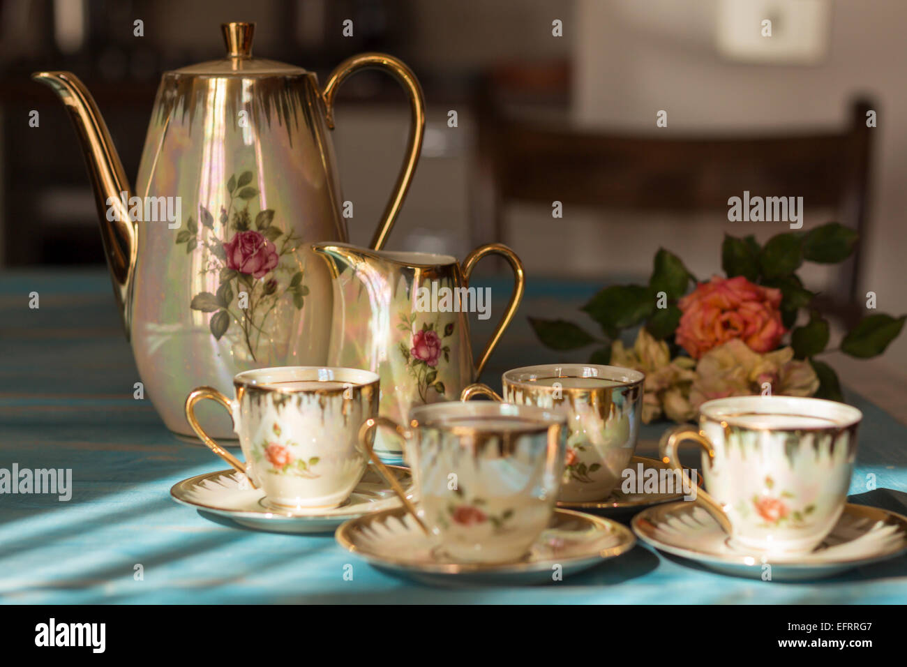 6 piece kitchen table sets black appliance packages vintage tea cups and teapot on old wooden stock ...