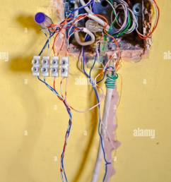 complicated wiring in a telephone junction box stock image [ 863 x 1390 Pixel ]