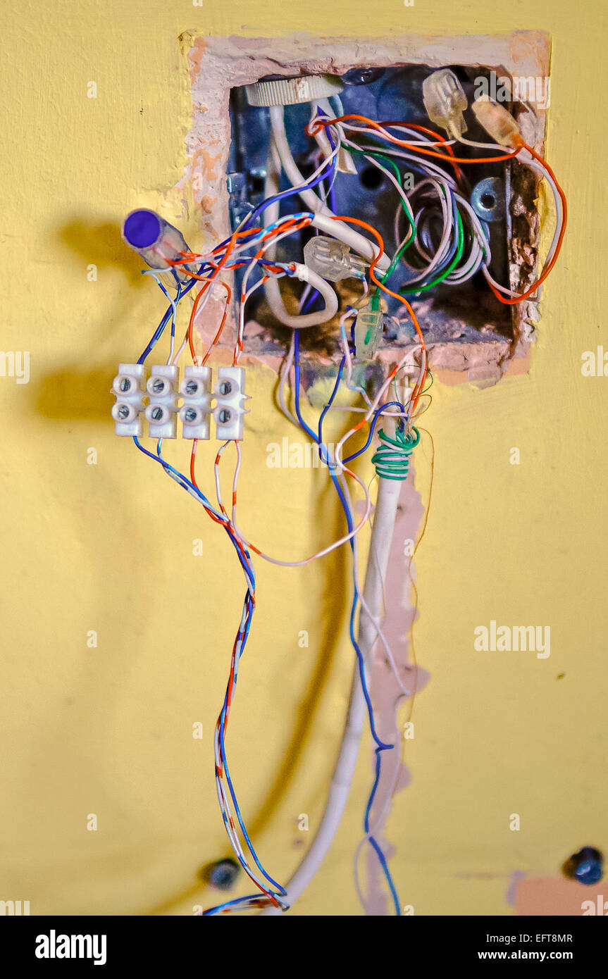 medium resolution of complicated wiring in a telephone junction box stock image