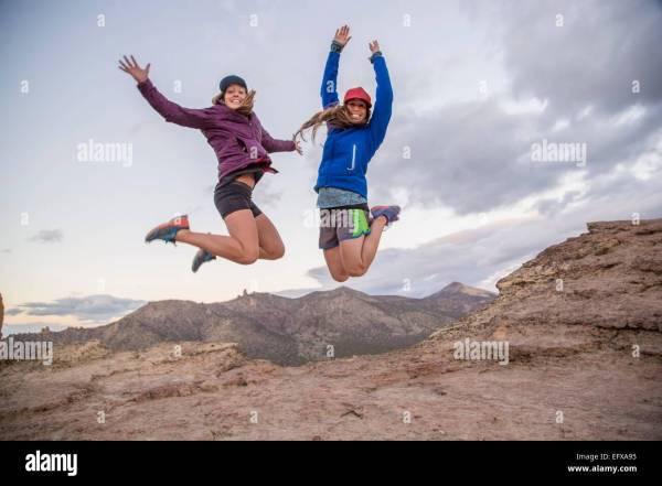 Woman Rock Climbing Stock & - Alamy