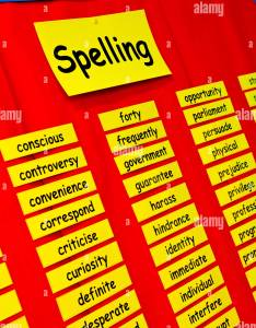 Primary school spelling wall chart with words spelt out for pupils to learn also rh alamy