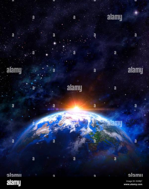 Sunrise Over Earth. Imaginary View Of Planet Earth In Outer Space Stock 78882671 - Alamy