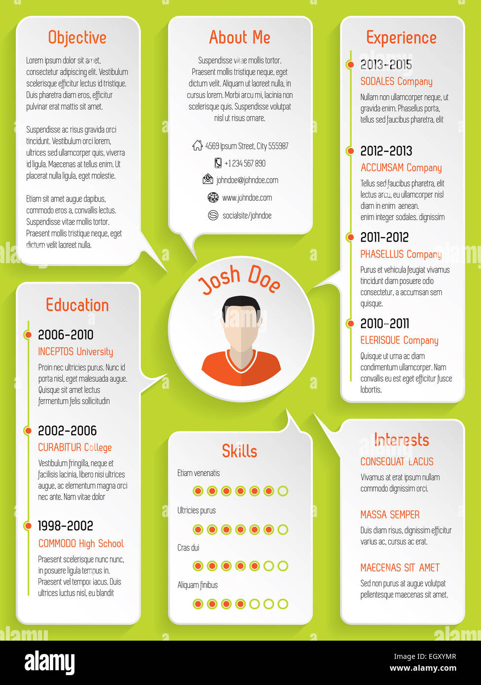 Modern Resume Design With Speech Bubbles And Green Background