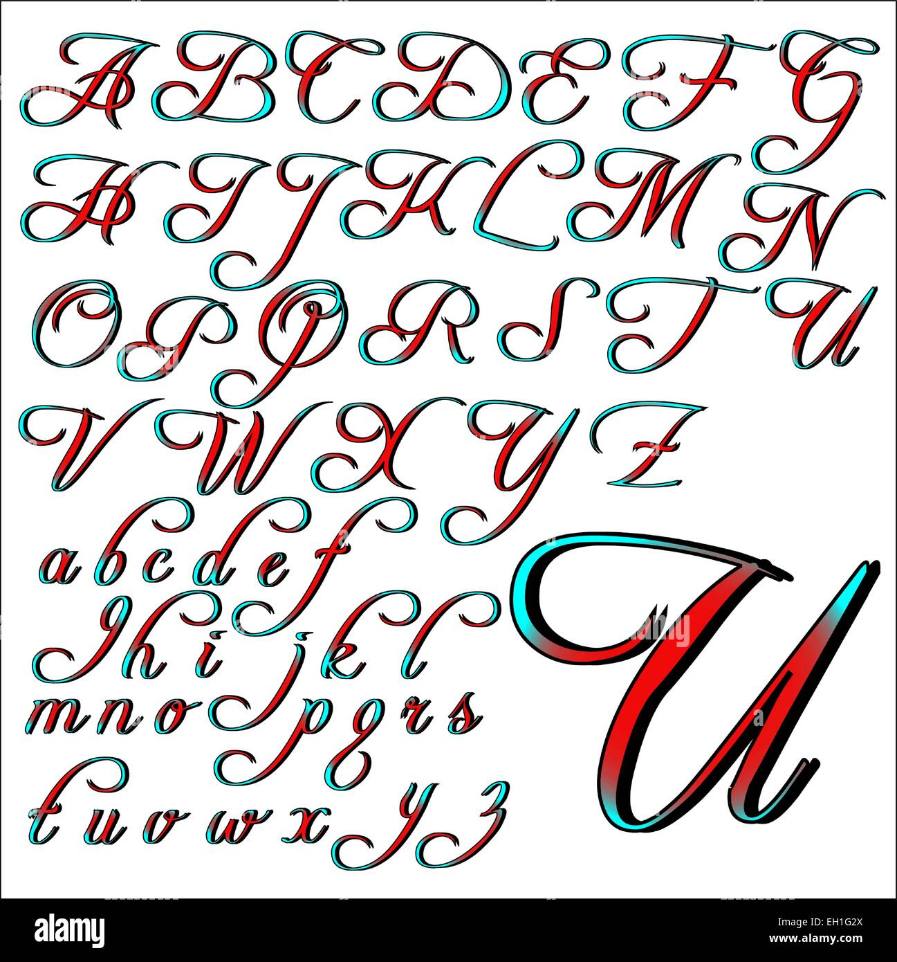 Colorful Fancy Cursive Alphabet Letters