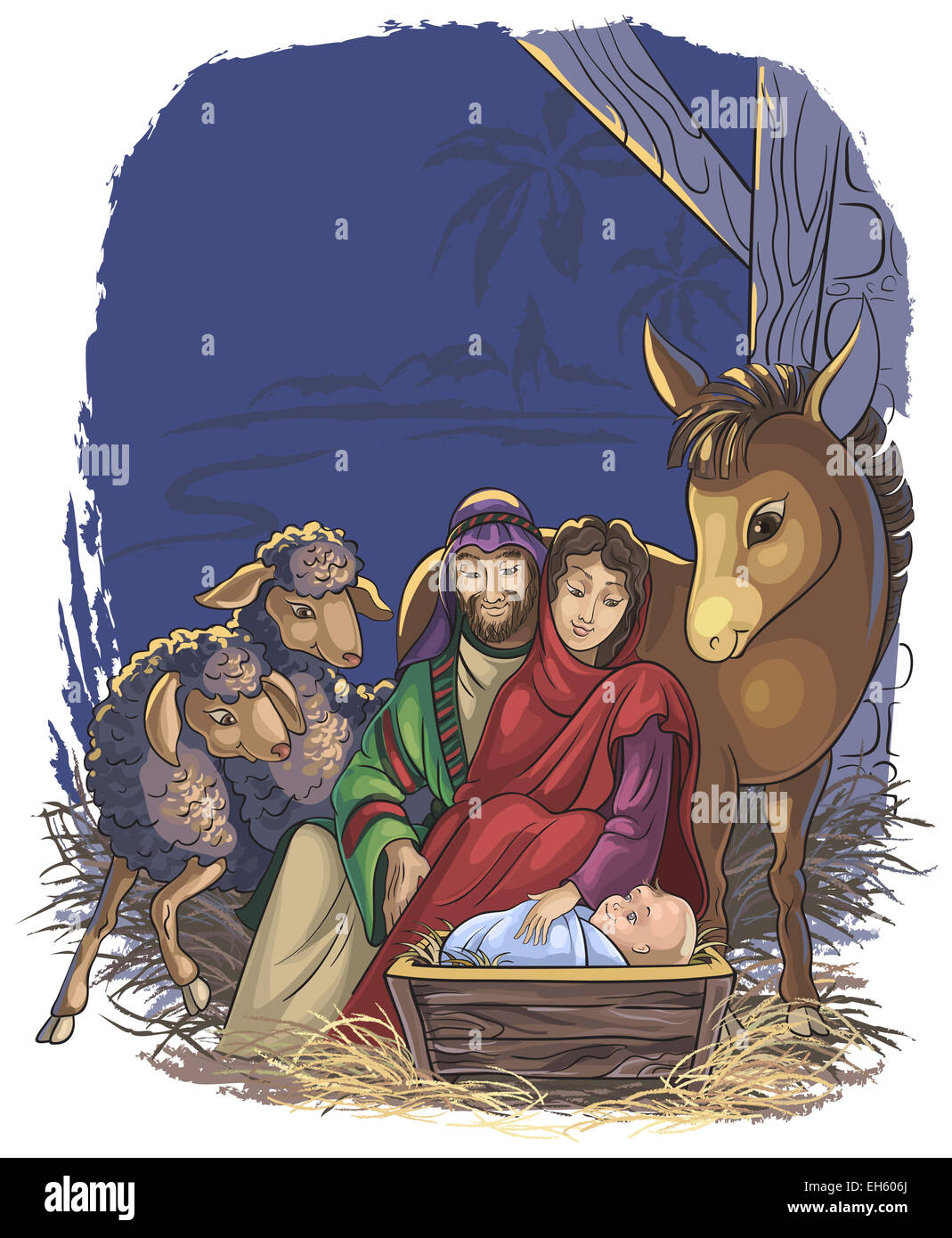Christmas Nativity Scene With Holy Family Bible Story Of