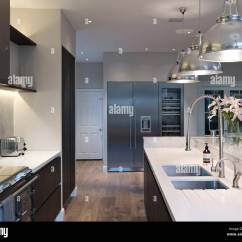 Kitchen Unit Led Lights Commercial Sink Faucet Modern With Pendant Above Island