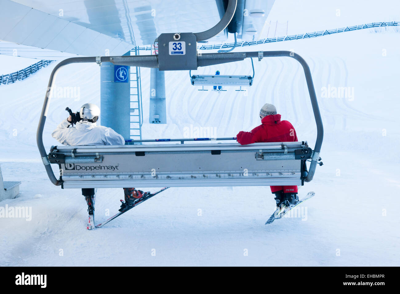 buy ski lift chair nautical outdoor cushions two skiers on a at the station zeropoint