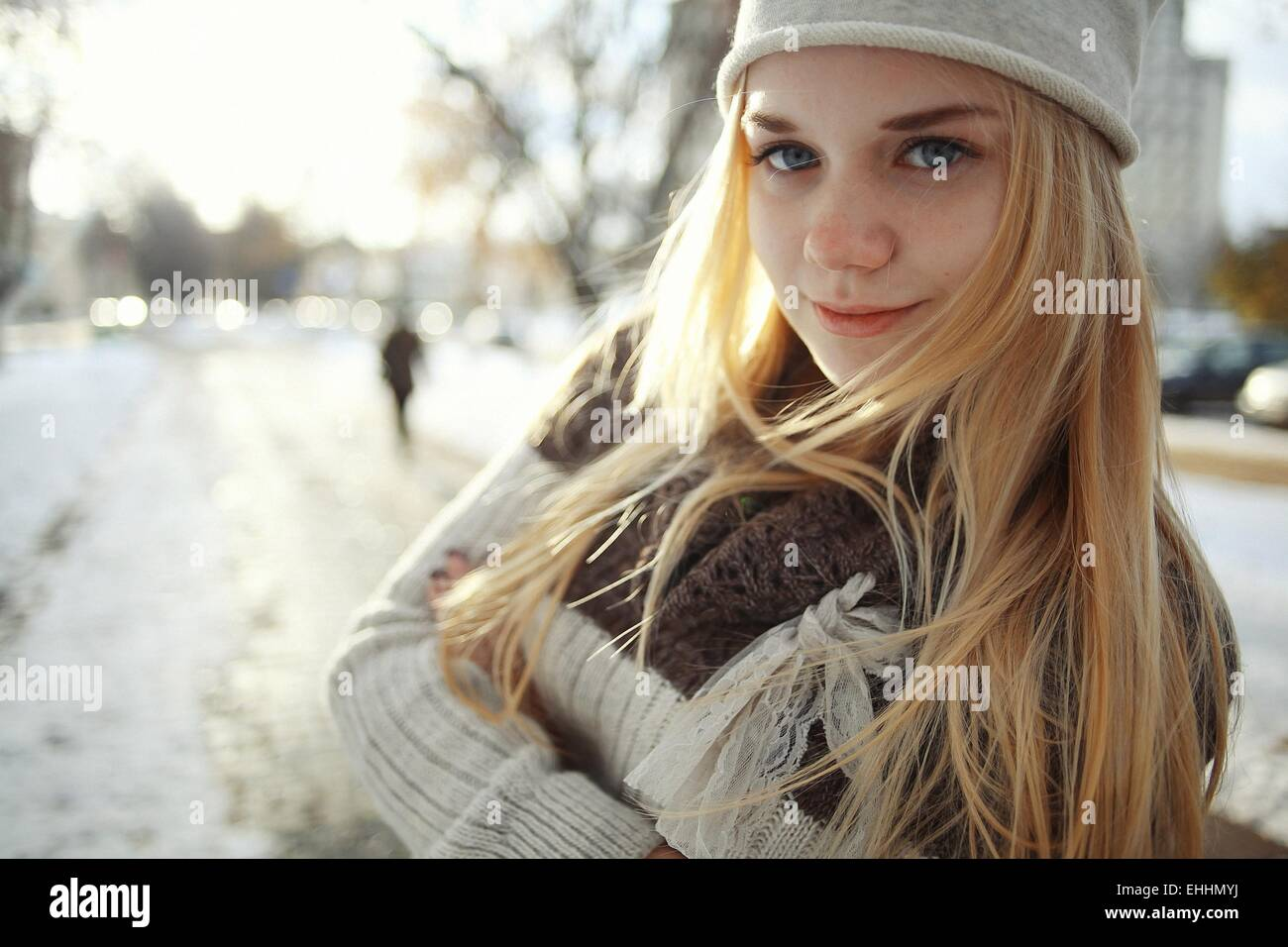 Winter Portrait Of A Cute Blonde Teen