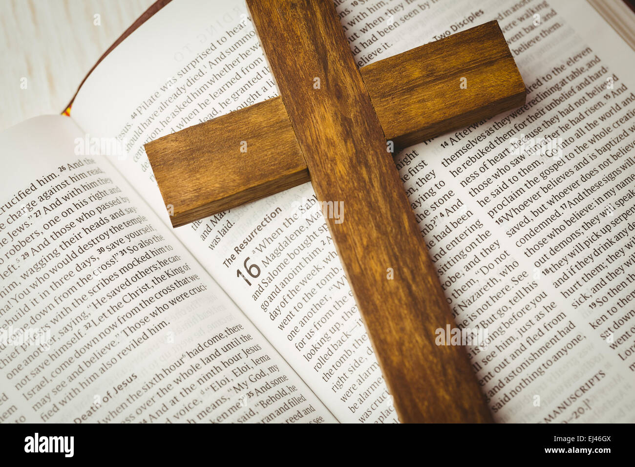 open bible and wooden