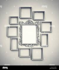 Wall with simple frames surrounding ornamented frame in ...