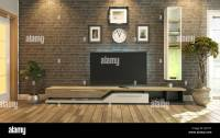 3D rendering tv room, salon or living room with brick wall ...