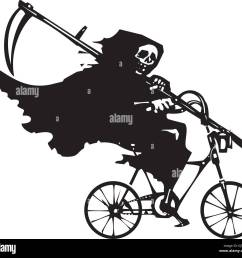 woodcut styled image of death as the grim reaper riding a bicycle stock vector [ 1300 x 1222 Pixel ]