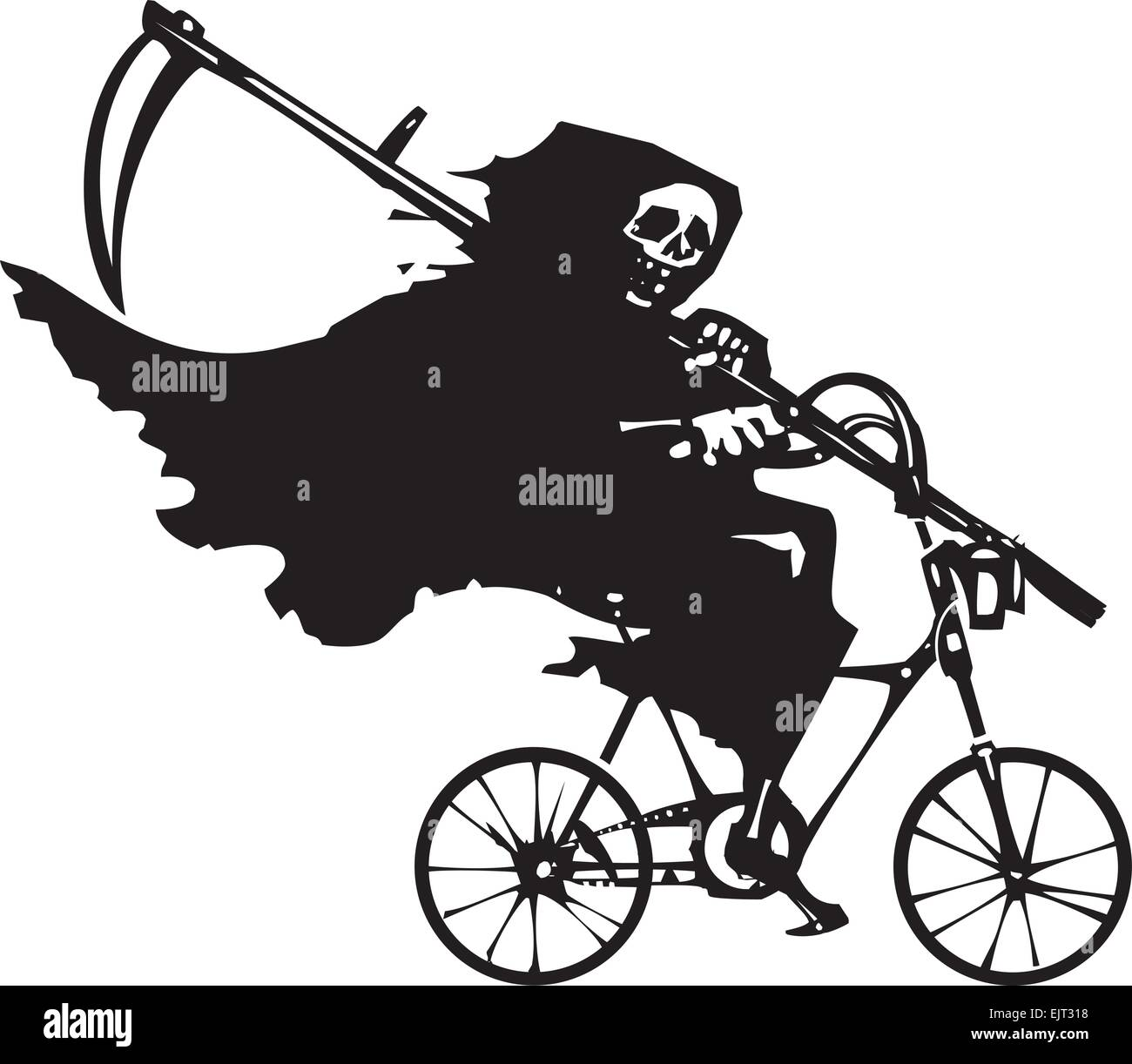 hight resolution of woodcut styled image of death as the grim reaper riding a bicycle stock vector