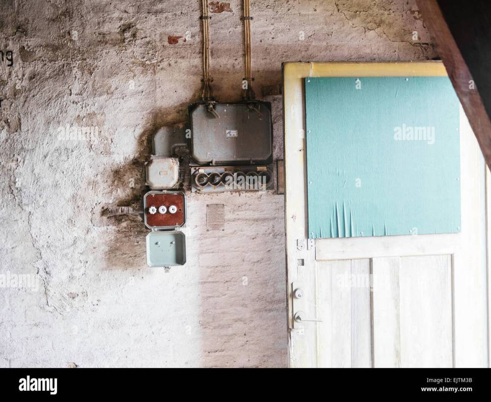 medium resolution of electrical fuse in old house stock image