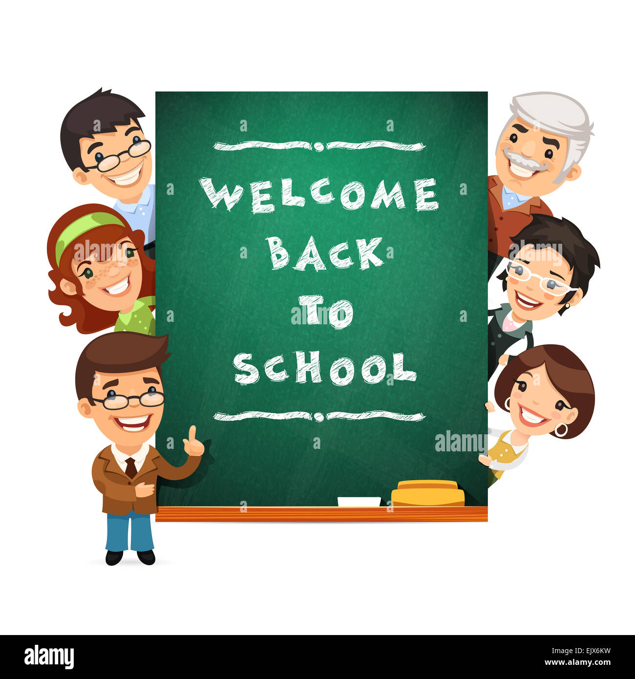 Teacher Points To The Blackboard With Welcome Back To