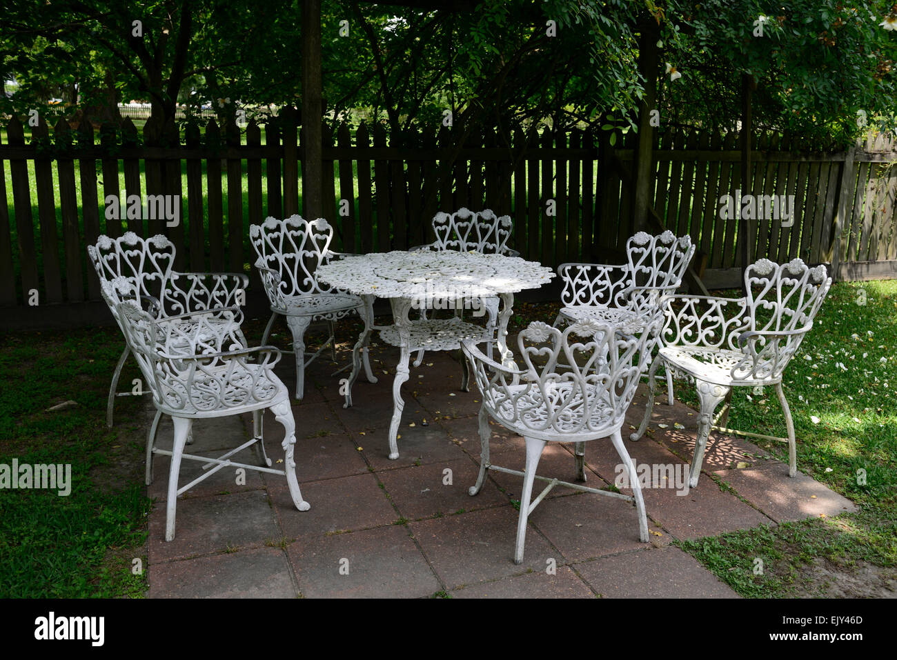 https www alamy com stock photo white wrought iron metal table chairs patio furniture shade shaded 80501301 html