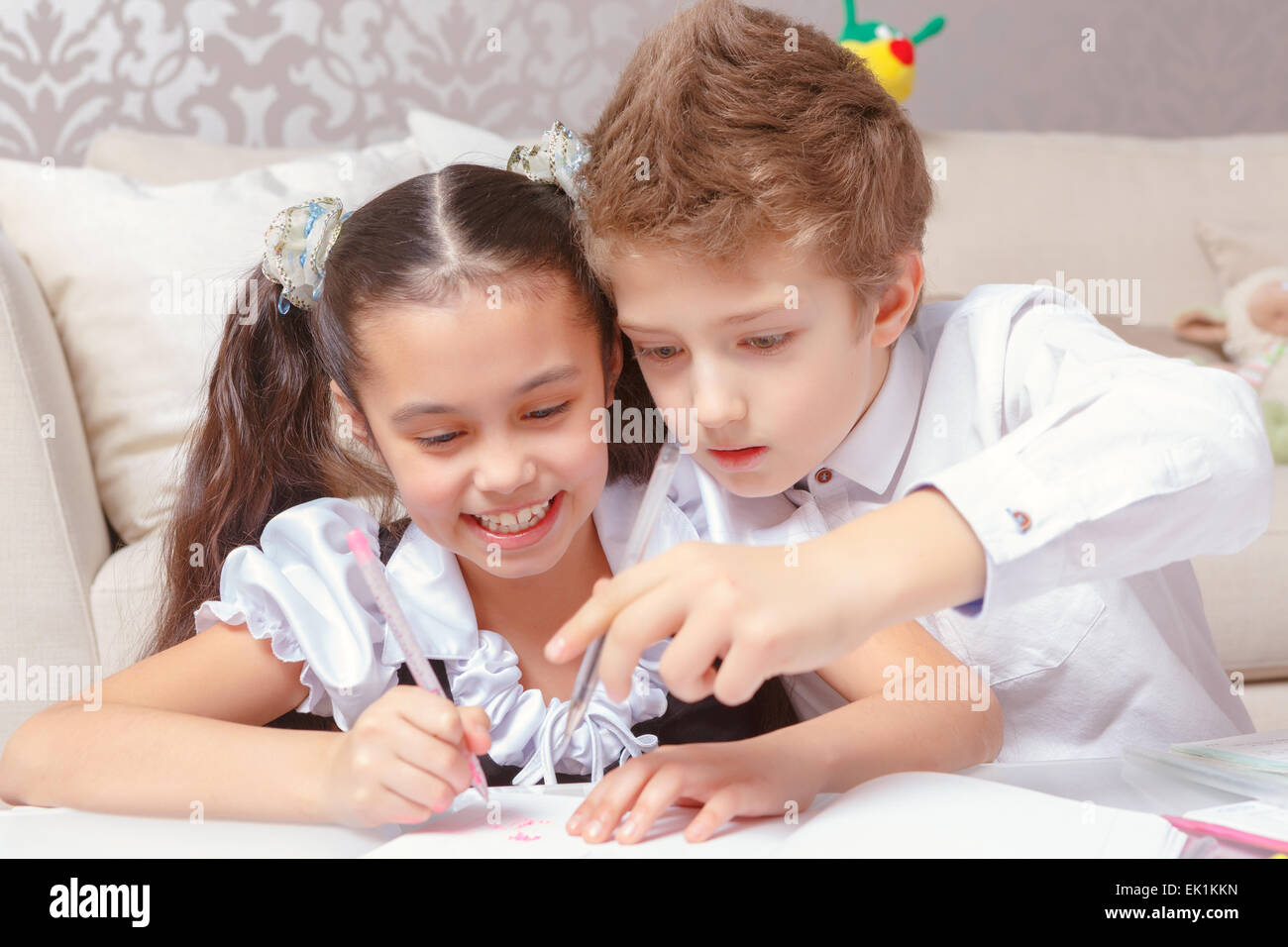 Kindergarten Classroom Boy Girl Stock Photos Amp Kindergarten Classroom Boy Girl Stock Images