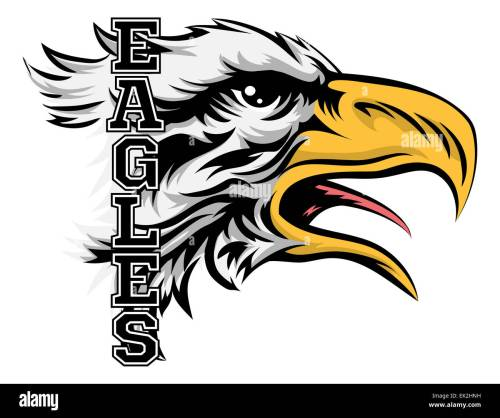 small resolution of an illustration of a cartoon eagle sports team mascot with the text eagles stock image