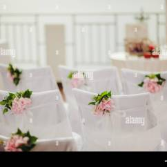 Chair Covers Pink Office Chairs Cheap Wedding With Flowers Stock Photo 80617897 Alamy