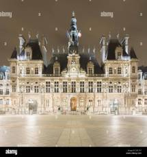 City Hall Night Paris France Stock &