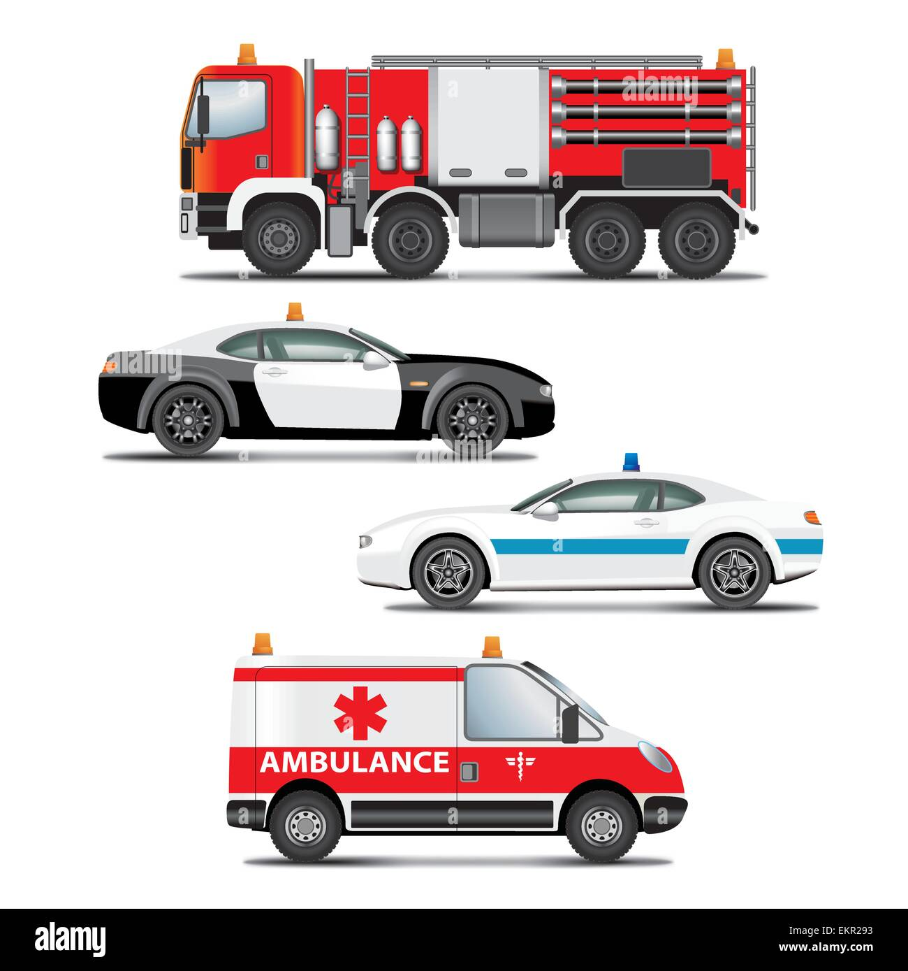 hight resolution of set of emergency transport icons fire truck ambulance police car vector illustration