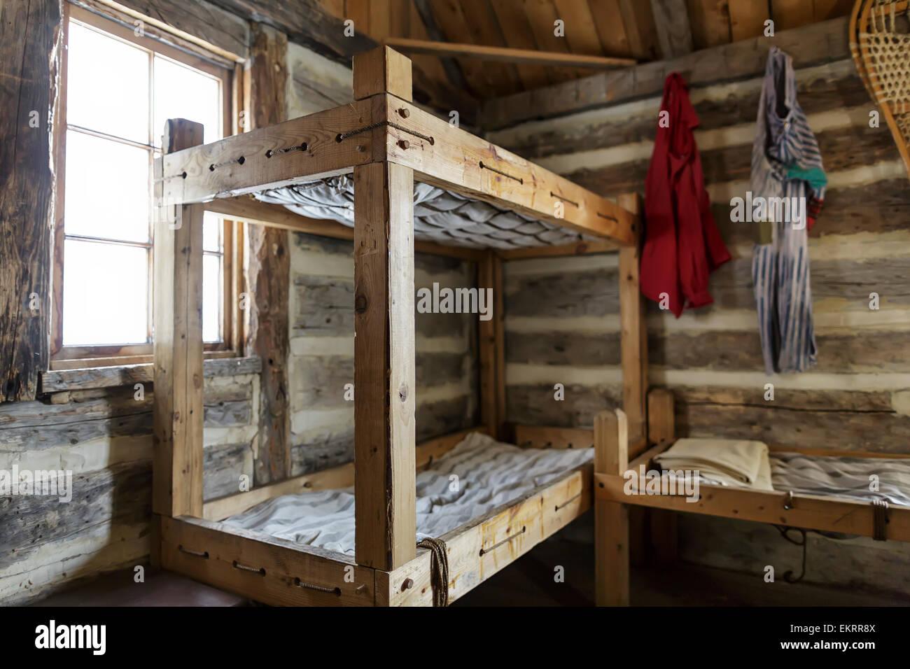 Rustic Bunk Beds And Living Quarters Of A Fur Trade Era