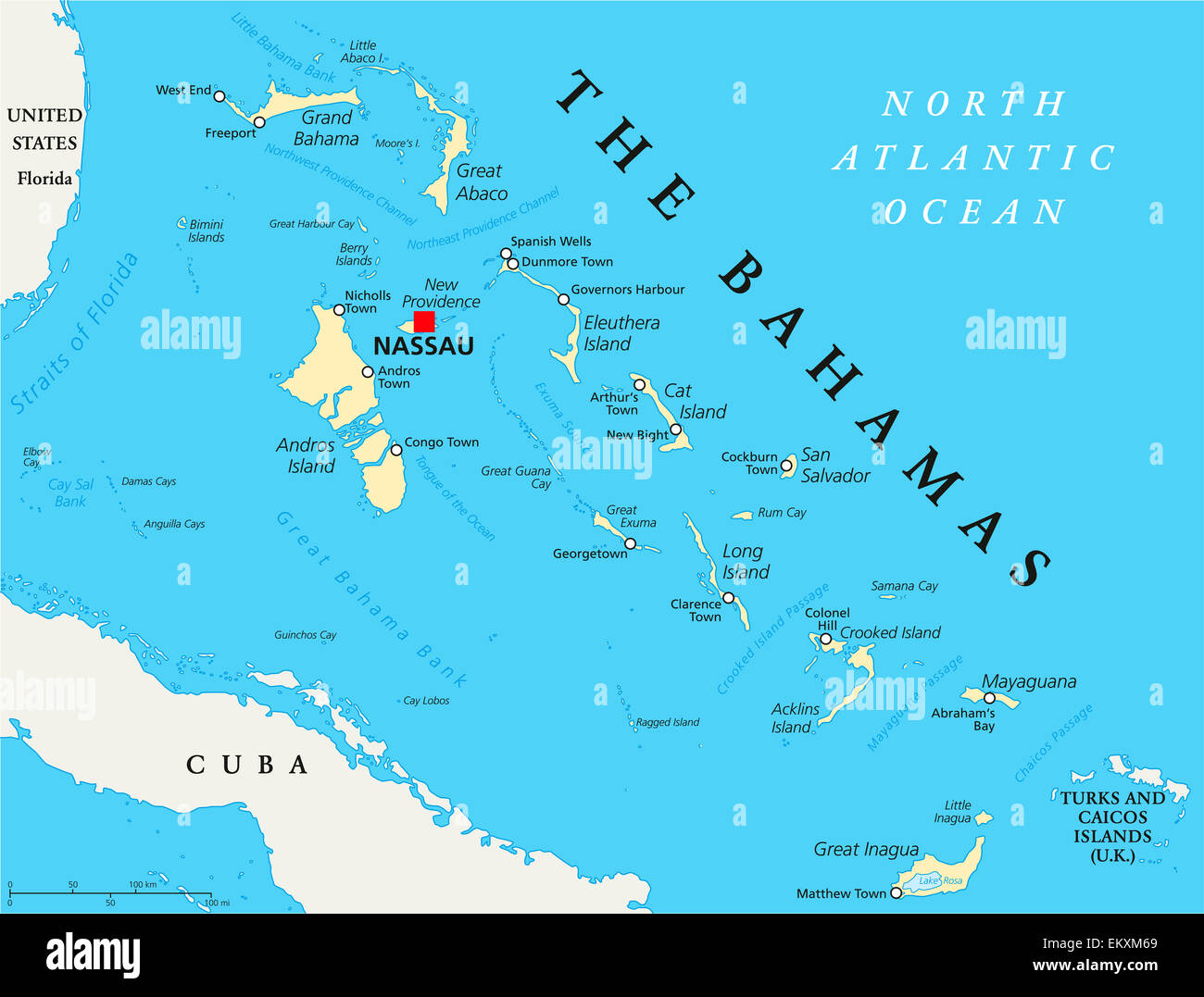 The Bahamas Political Map With Capital Nassau Important