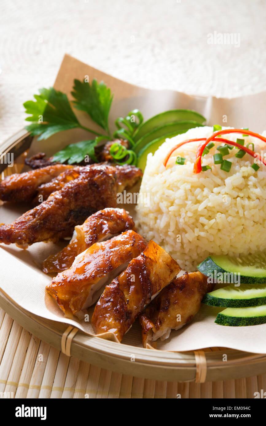 Singapore style Hainan chicken rice Stock Photo: 81141772 - Alamy