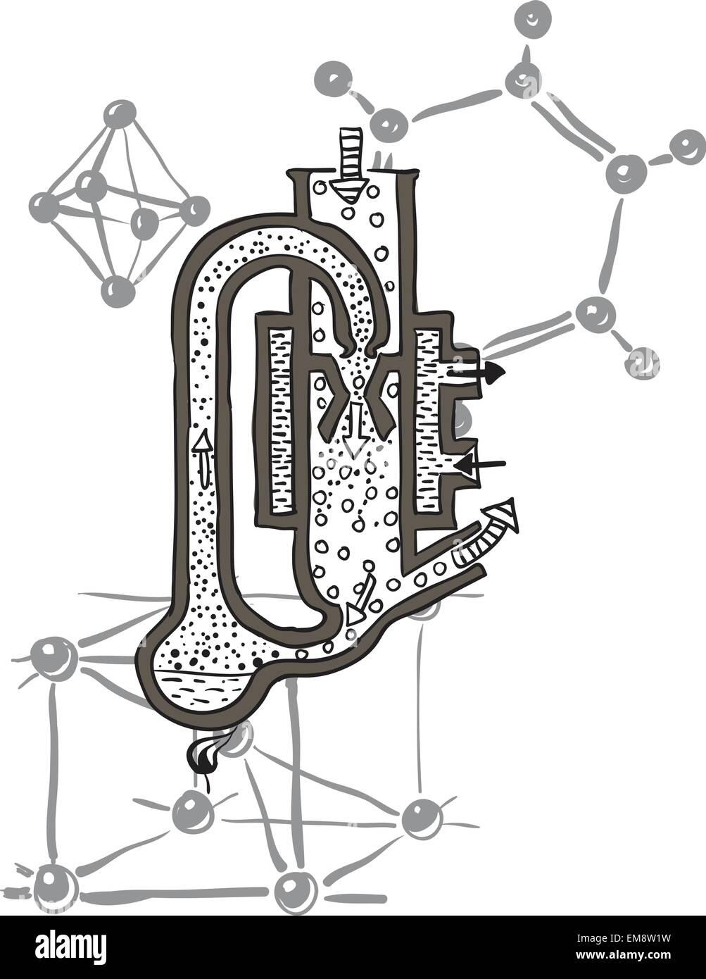 hight resolution of vector drawing scheme of mercury vacuum pump