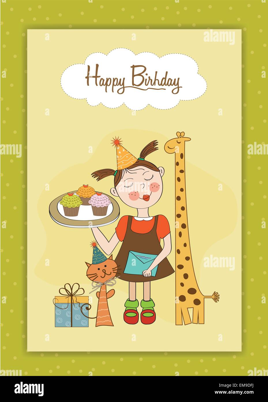 Happy Birthday Funny Girl Images : happy, birthday, funny, images, Happy, Birthday, Funny, Girl,, Animals, Cupcakes, Stock, Vector, Image, Alamy