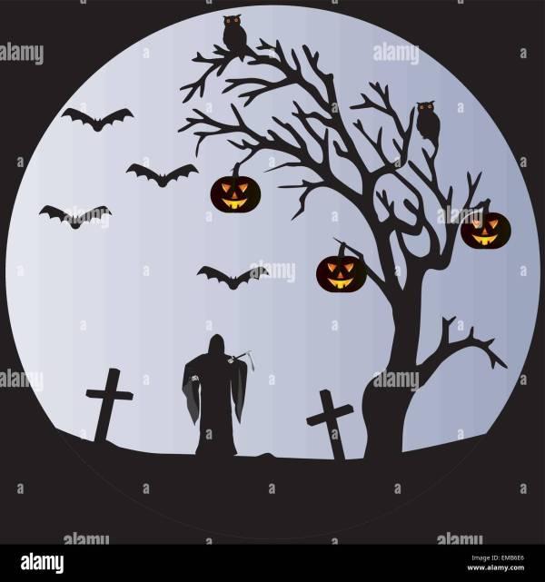 Spooky Graveyard Illustration Stock &