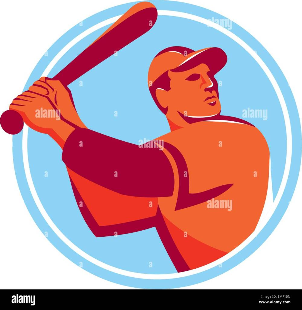 medium resolution of baseball batter batting bat circle retro stock image