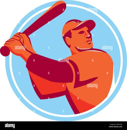 small resolution of baseball batter batting bat circle retro stock image