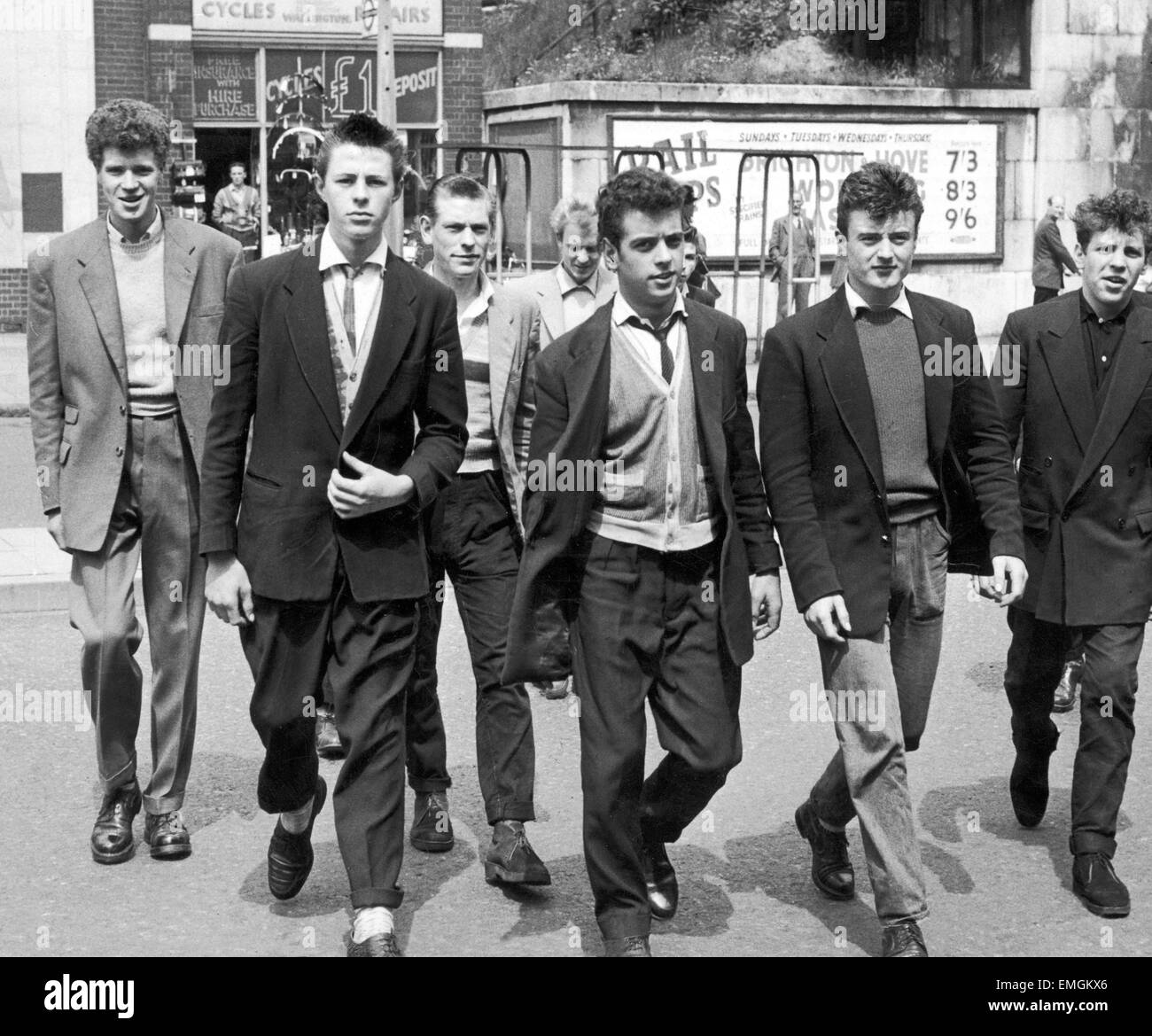 A Group Of Teddy Boys Seen At Tooting Corner After The