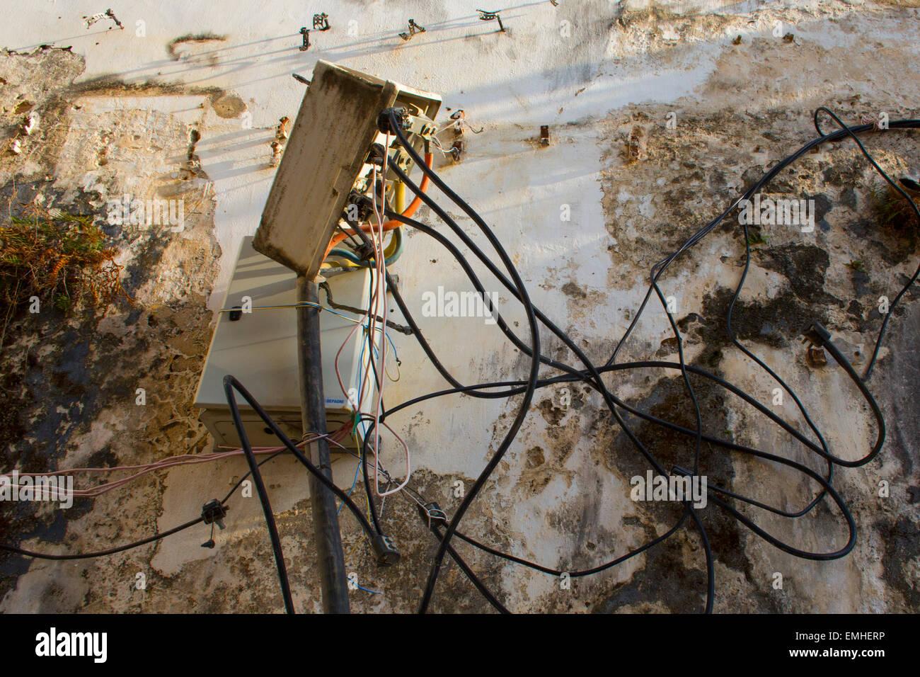 hight resolution of poor electrical wiring in zanzibar stock image