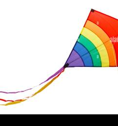 small flying rainbow kite isolated on a white background stock image [ 1300 x 974 Pixel ]