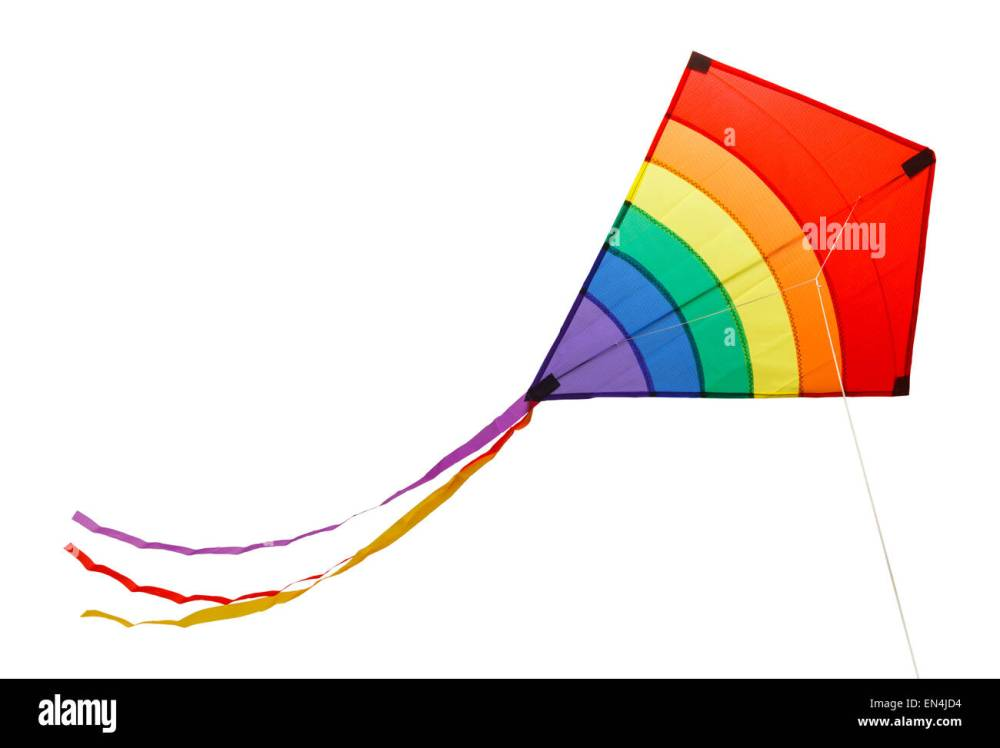 medium resolution of small flying rainbow kite isolated on a white background stock image