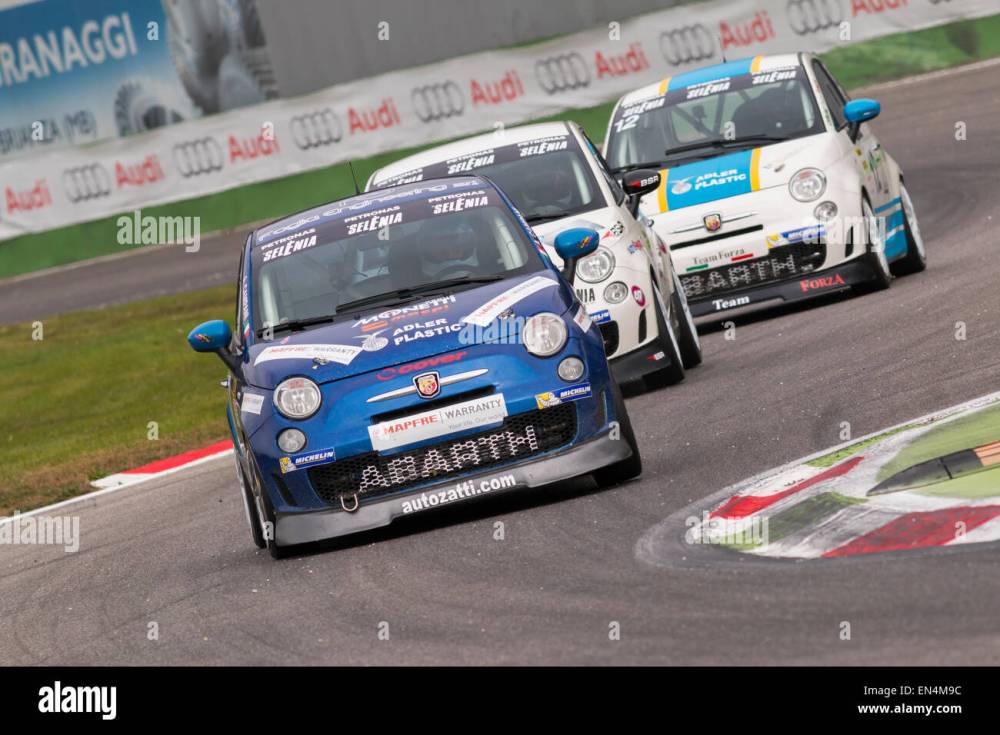 medium resolution of monza italy october 25 2014 fiat abarth 695 of c c racing team driven by campani alex in action during the abarth italia europa trophy race in