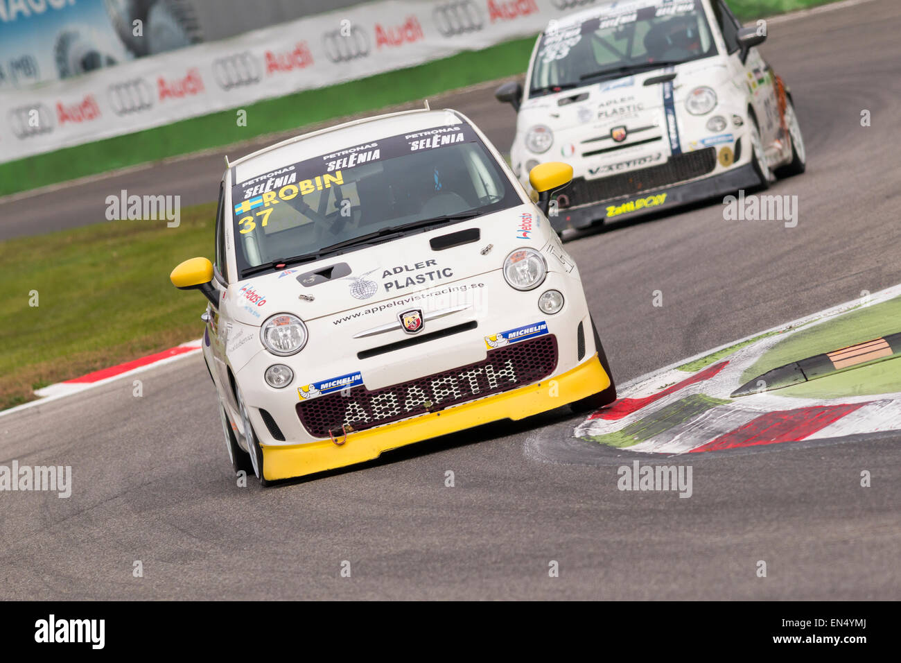 hight resolution of monza italy october 25 2014 fiat abarth 500 of lmp engineer team driven by appelqvist robin
