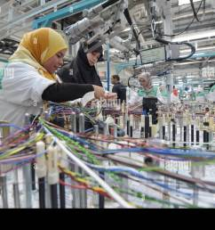siliana tunisia 28th apr 2015 tunisian employees work on a wiring harness [ 1300 x 955 Pixel ]