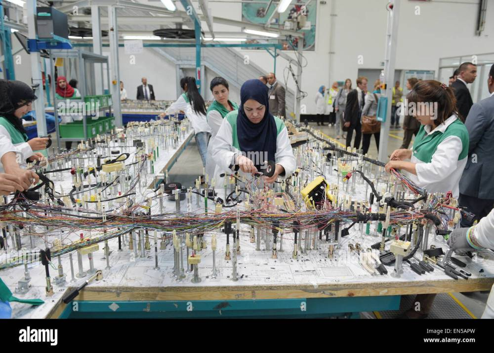 medium resolution of tunisian employees work on a wiring harness for vehicles in the factory of the german car parts supplier draexlmeier in siliana tunisia 28 april 2015